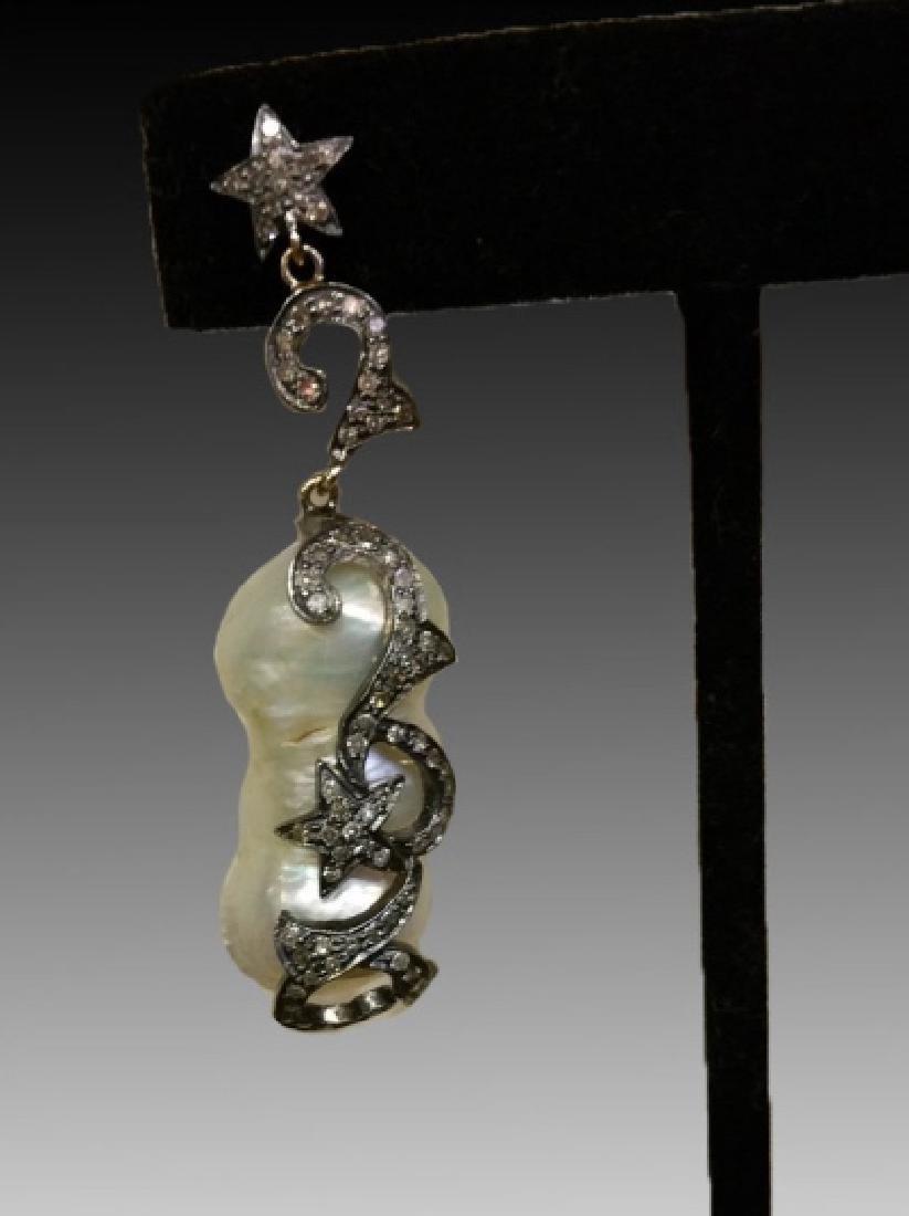 STERLING SILVER BAROQUE & DIAMOND EARRINGS - 2