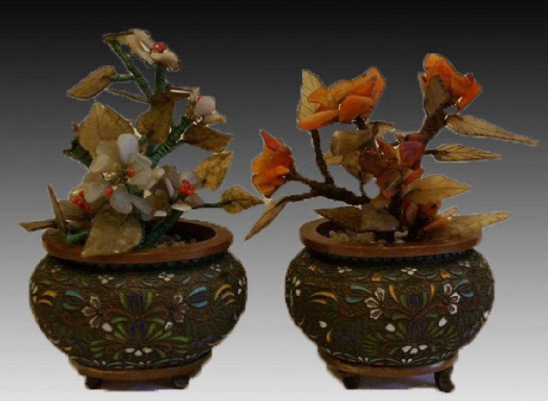 CHINESE CLOISONNE PLANTER PAIR WITH HARDSTONES
