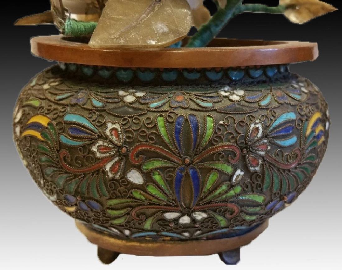 CHINESE CLOISONNE PLANTER PAIR WITH HARDSTONES - 2