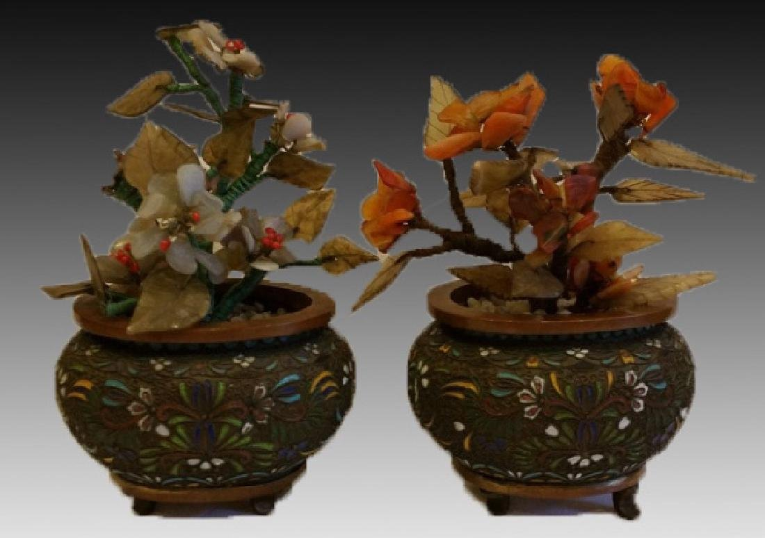 CHINESE CLOISONNE PLANTER PAIR WITH HARDSTONES - 3
