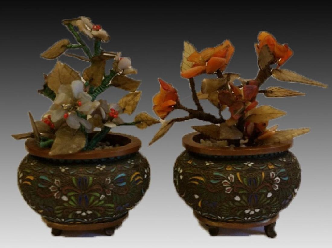 CHINESE CLOISONNE PLANTER PAIR WITH HARDSTONES - 4