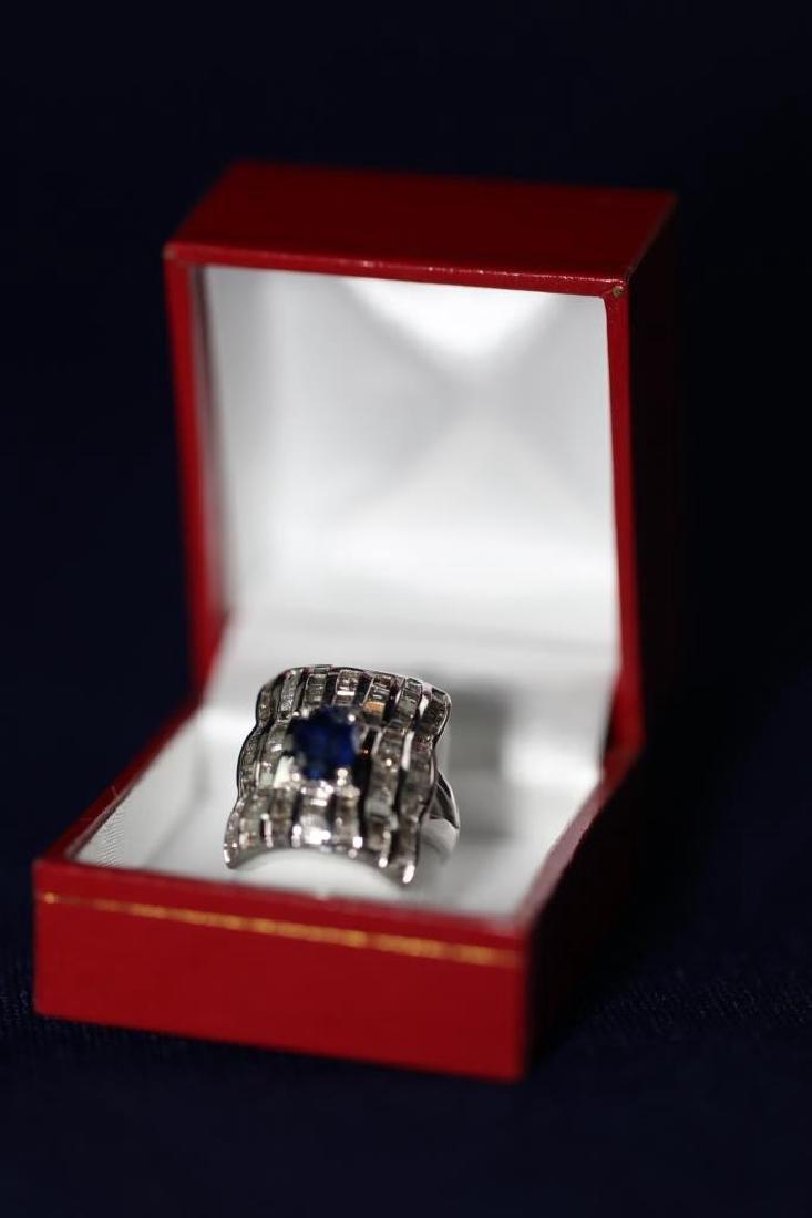 SAPHIRE & DAIMOND LADIES COCKTAIL RING - 3