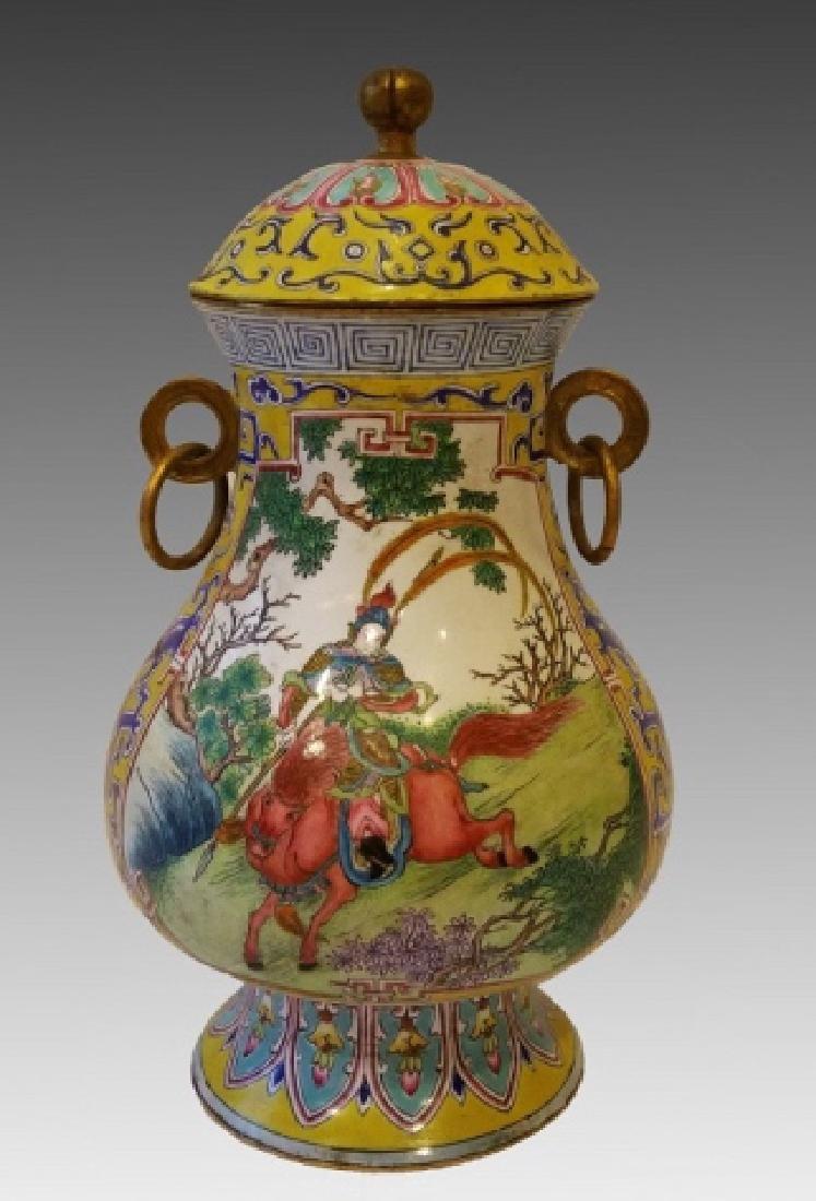 CHINESE CANTONESE ENAMEL JAR - 4