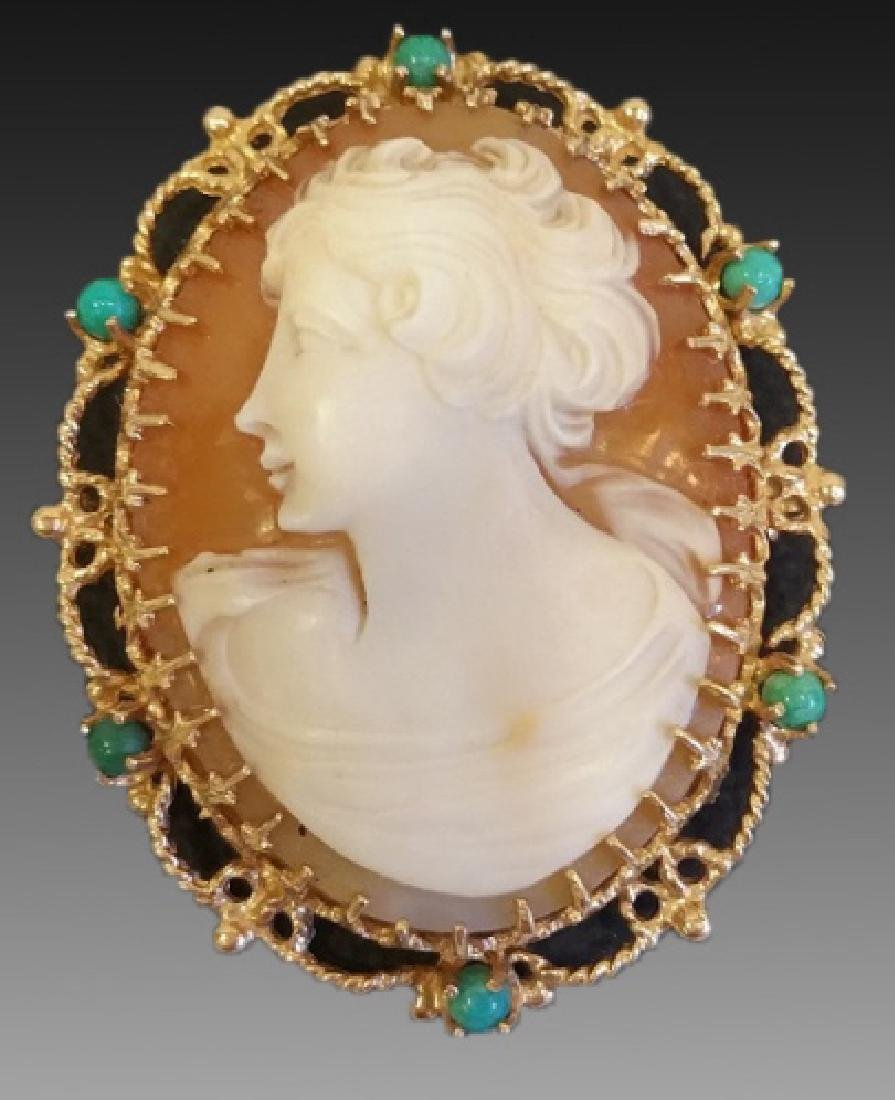 14KYG CAMEO BROOCH WITH TURQUOISE CABOCHONS