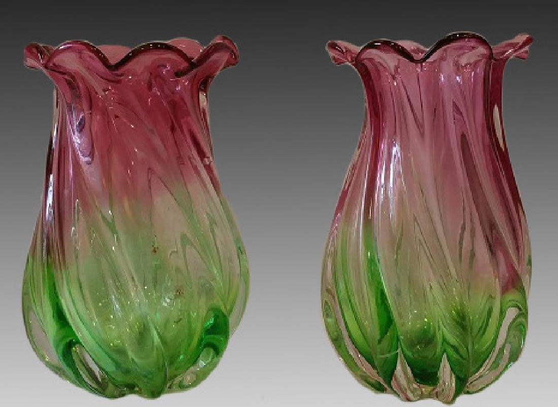 MURANO ART GLASS GREEN TO PINK VASE PAIR