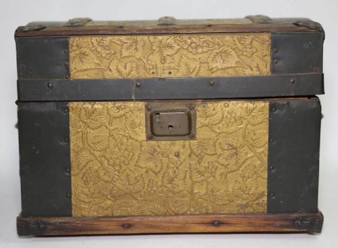ANTIQUE DOME TOP CHILDS TRUNK WITH DOLL CLOTHES - 2