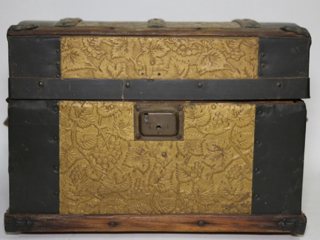 ANTIQUE DOME TOP CHILDS TRUNK WITH DOLL CLOTHES - 3