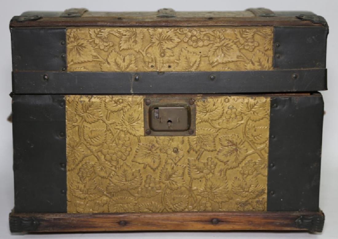 ANTIQUE DOME TOP CHILDS TRUNK WITH DOLL CLOTHES - 4