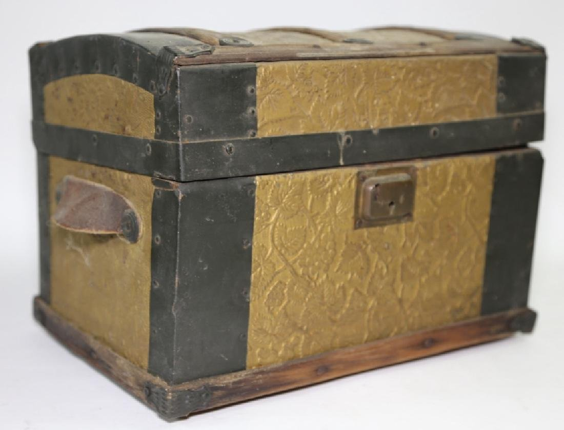 ANTIQUE DOME TOP CHILDS TRUNK WITH DOLL CLOTHES - 6