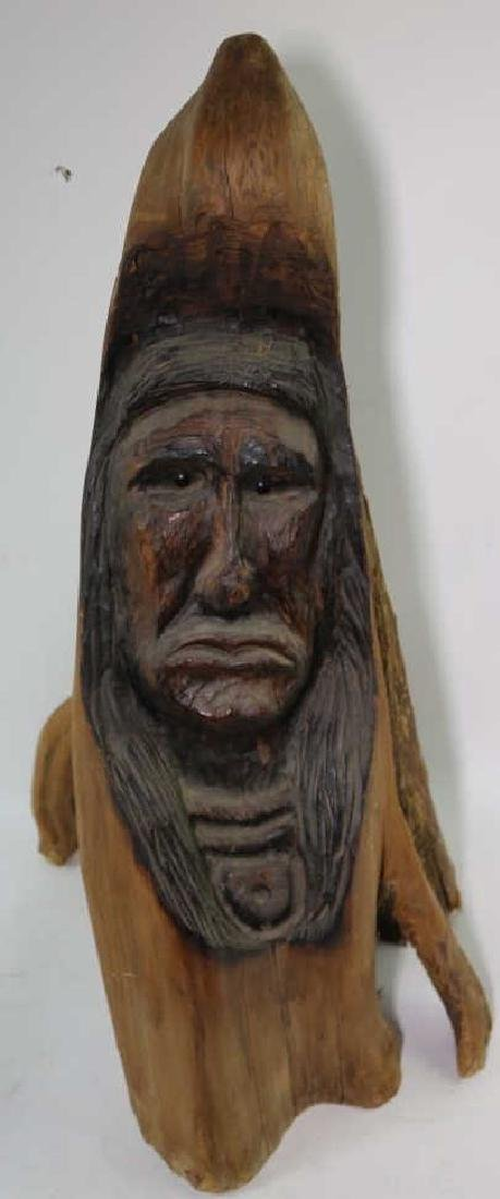 NATIVE AMERICAN BUST CARVING