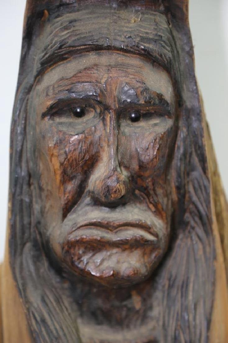 NATIVE AMERICAN BUST CARVING - 2