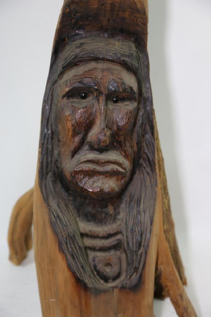 NATIVE AMERICAN BUST CARVING - 4