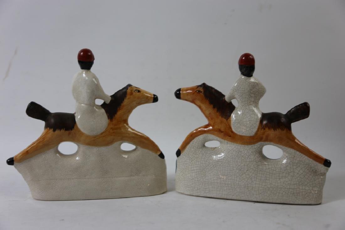ENGLISH STAFFORDSHIRE FOX HUNT SCULPTURES - 5