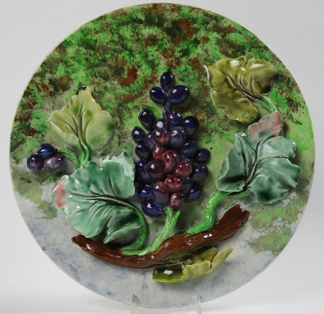 MAJOLICA 19TH C CHARGER WITH GRAPE RELIEF