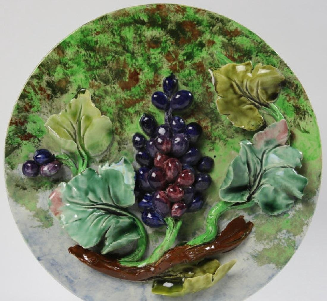 MAJOLICA 19TH C CHARGER WITH GRAPE RELIEF - 2