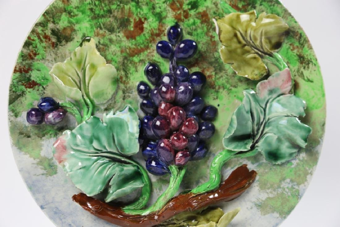 MAJOLICA 19TH C CHARGER WITH GRAPE RELIEF - 3