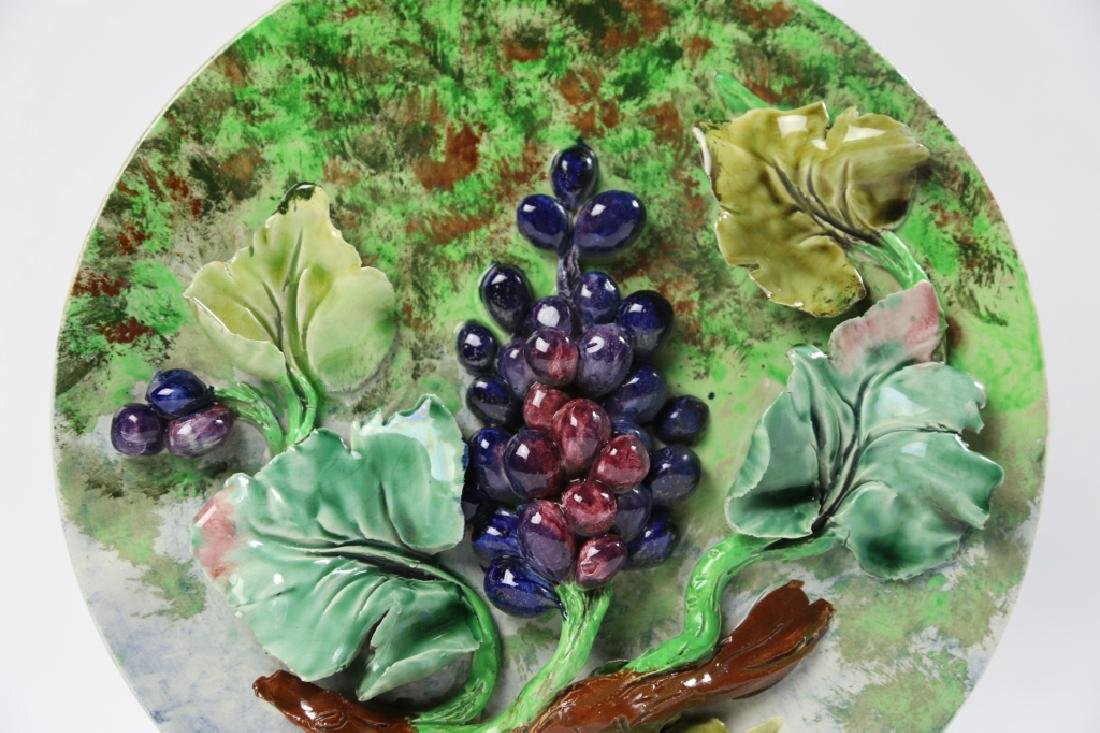 MAJOLICA 19TH C CHARGER WITH GRAPE RELIEF - 4