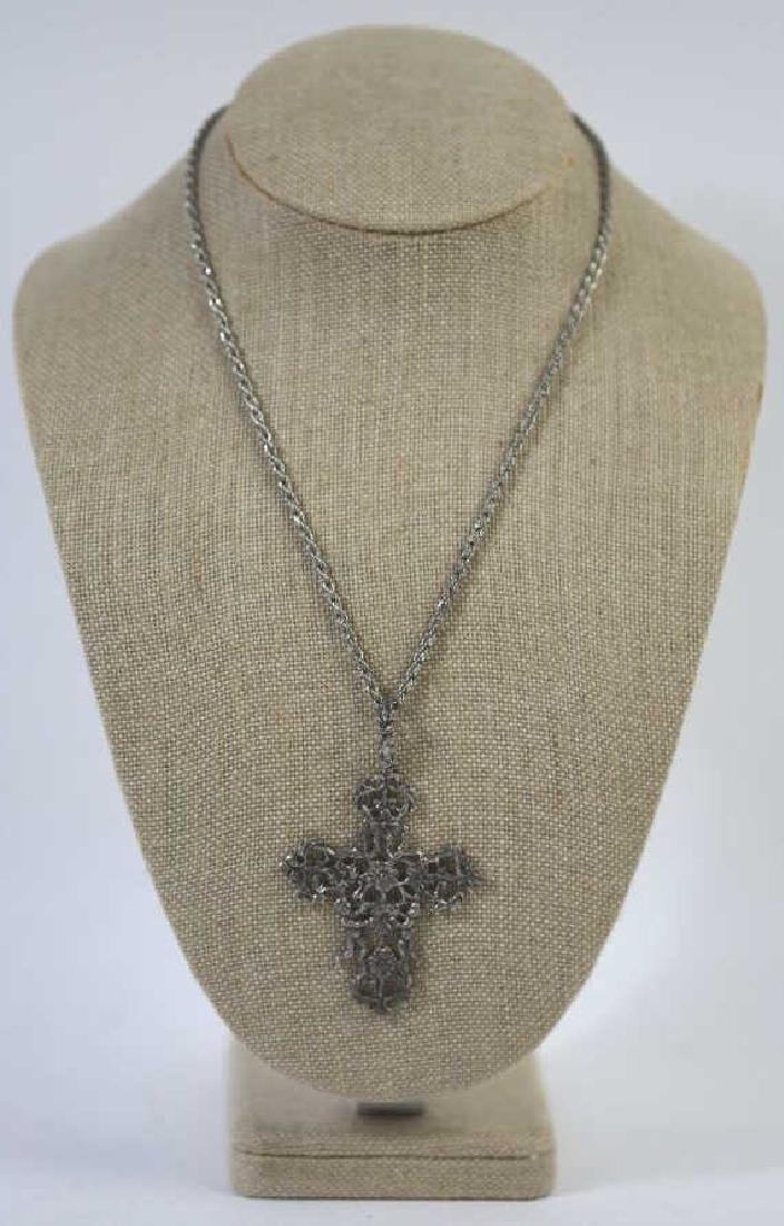 ITALIAN STERLING SILVER FILIGREE CRUCIFIX ON ROPE