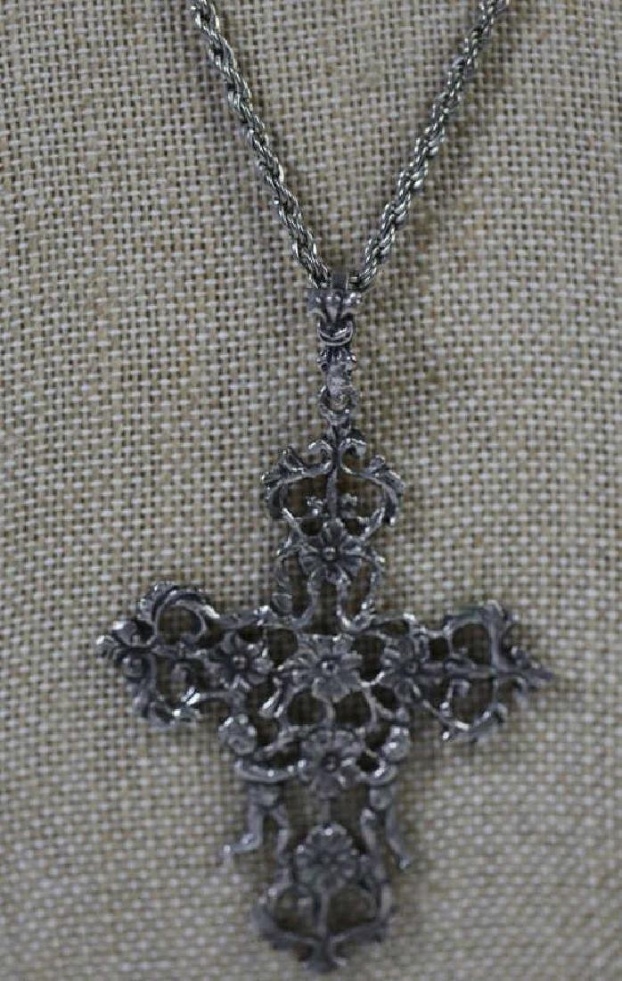 ITALIAN STERLING SILVER FILIGREE CRUCIFIX ON ROPE - 3
