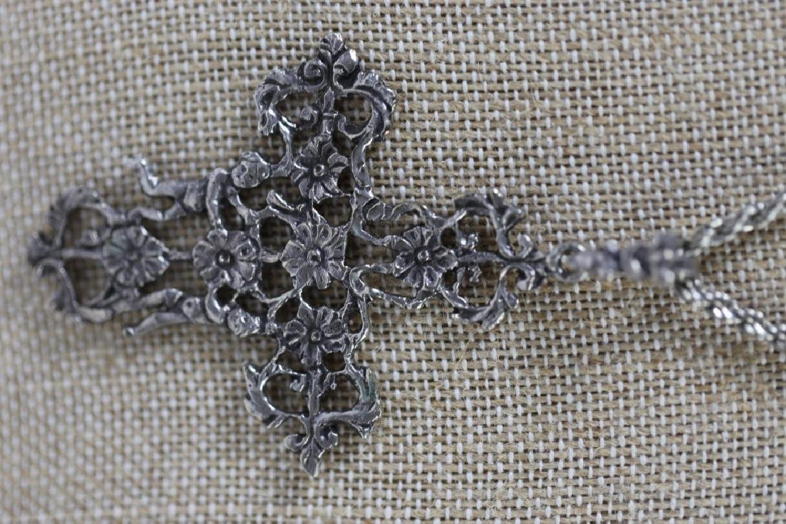 ITALIAN STERLING SILVER FILIGREE CRUCIFIX ON ROPE - 7