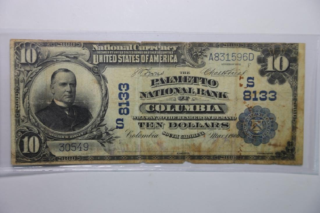1900 COLUMBIA SC $10 S8133 PALMETO NATIONAL BANK