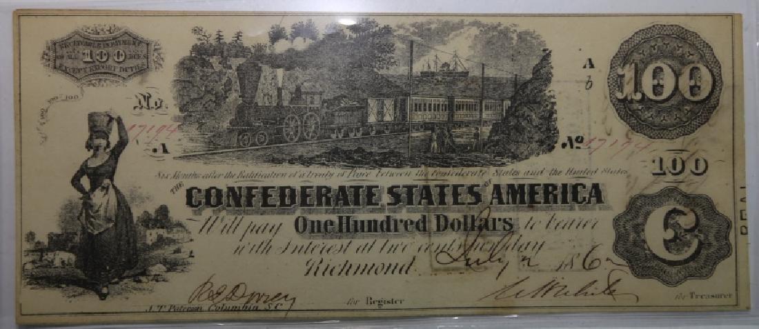 1862 CONFEDERATE STATES $100 RICHMOND VA  NOTE