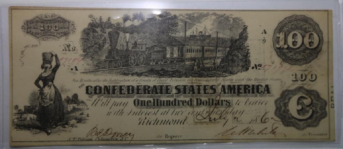 1862 CONFEDERATE STATES $100 RICHMOND VA  NOTE - 2
