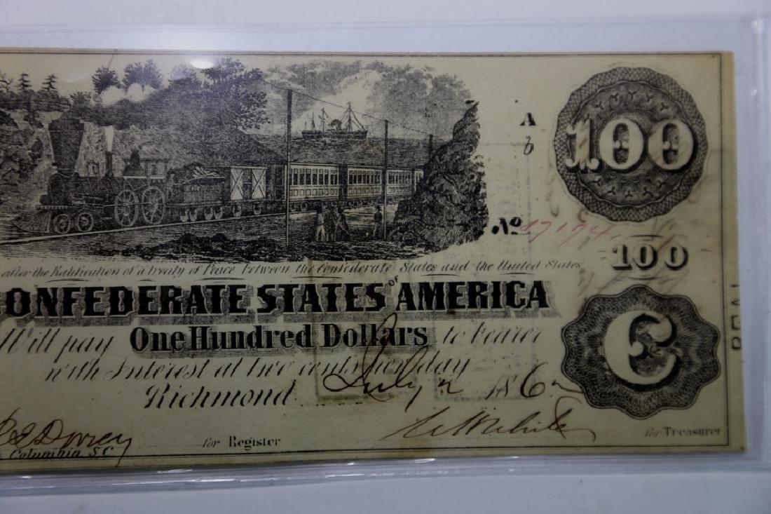 1862 CONFEDERATE STATES $100 RICHMOND VA  NOTE - 3