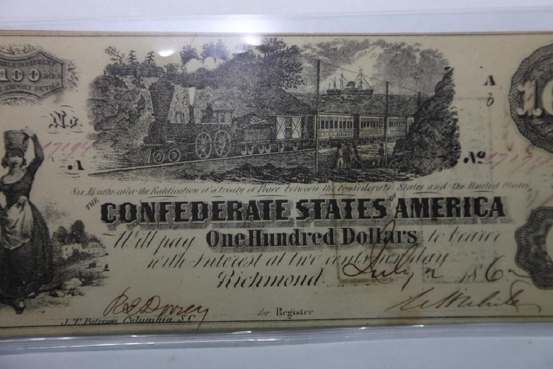 1862 CONFEDERATE STATES $100 RICHMOND VA  NOTE - 4