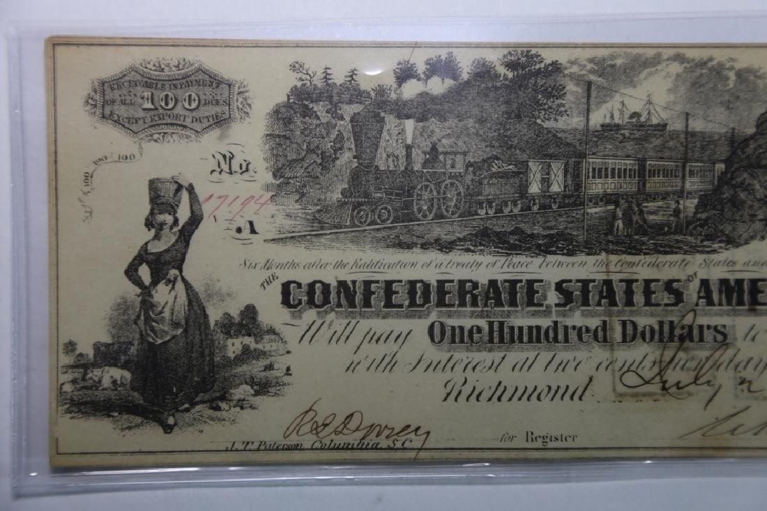 1862 CONFEDERATE STATES $100 RICHMOND VA  NOTE - 5