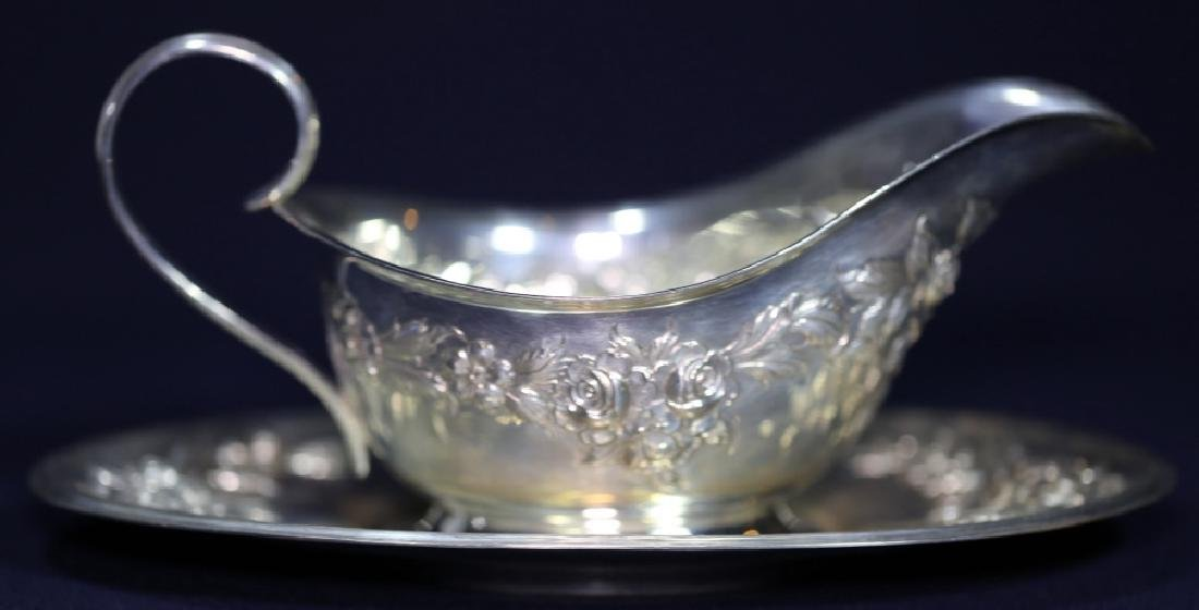S. KIRK & SONS REPOUSE STERLING  LARGE GRAVY SET