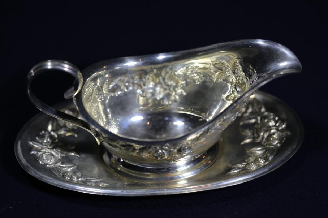 S. KIRK & SONS REPOUSE STERLING  LARGE GRAVY SET - 3
