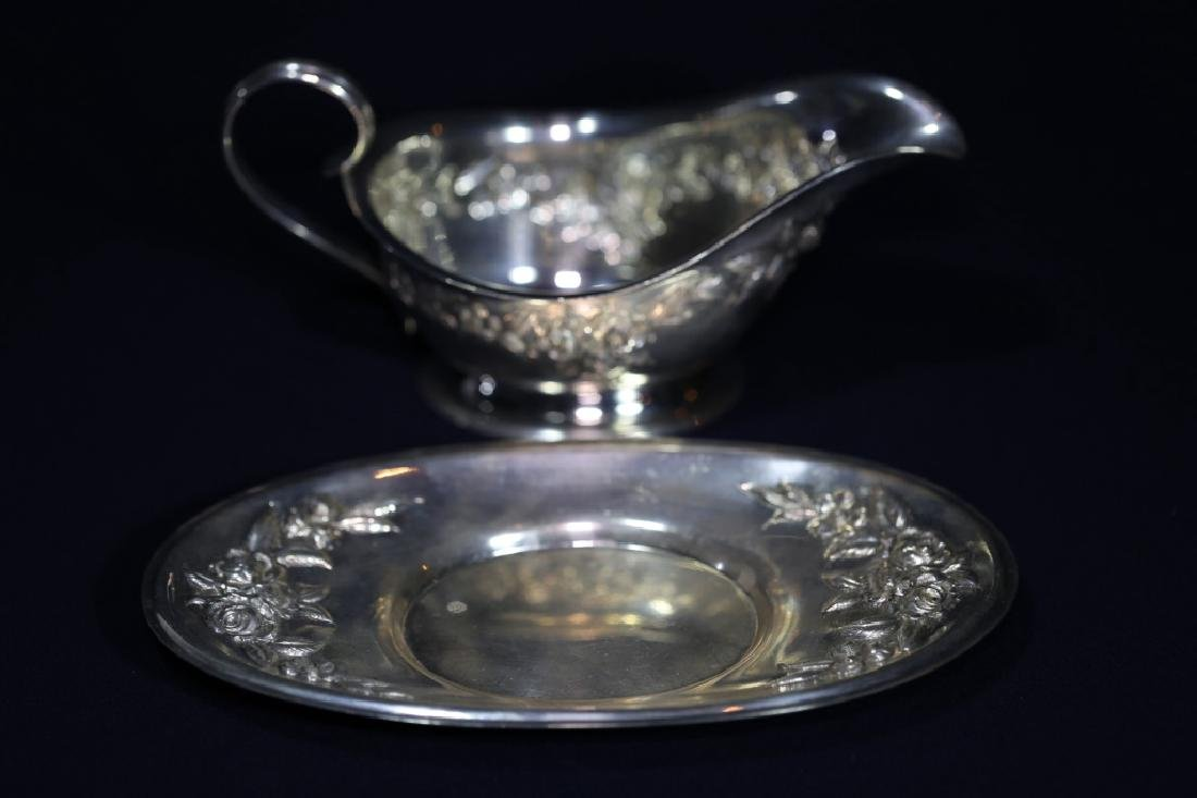 S. KIRK & SONS REPOUSE STERLING  LARGE GRAVY SET - 8