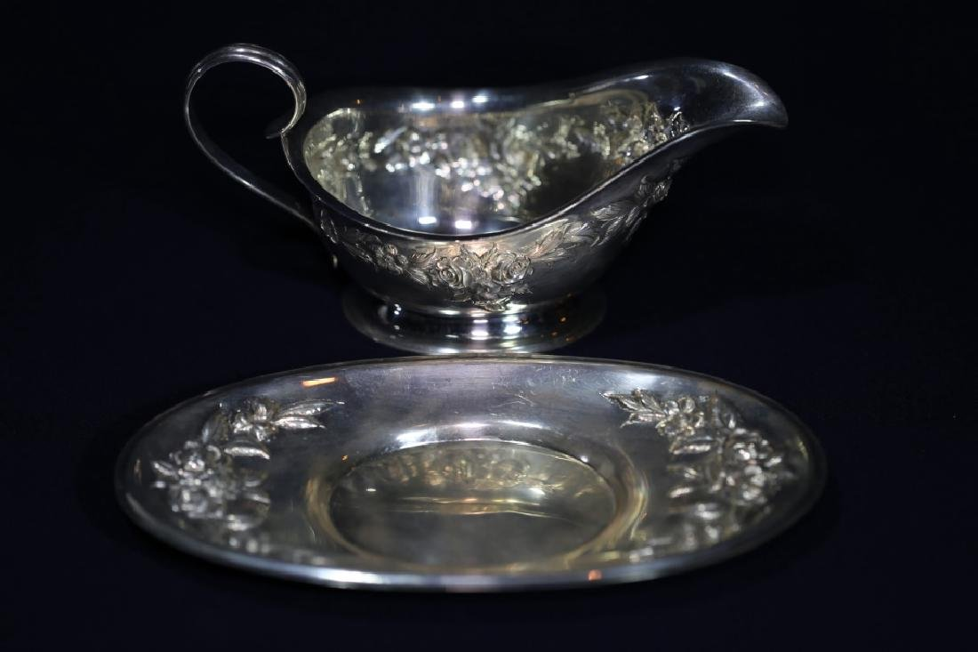 S. KIRK & SONS REPOUSE STERLING  LARGE GRAVY SET - 9