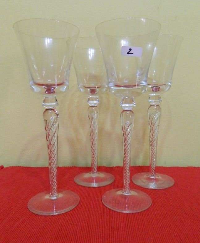 2: 4 air twisted tall crystal glasses