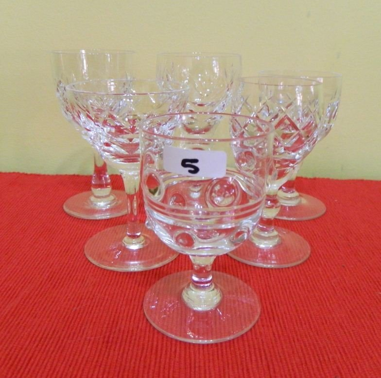 5: Six small crystal glasses various patterns and shape