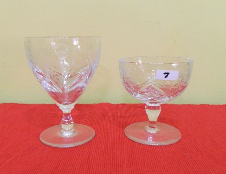 7: Two crystal dessert glasses