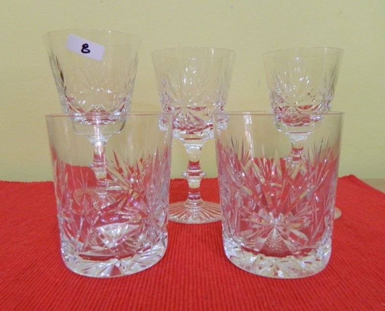 8: Five cut crystal glasses various patterns and shapes