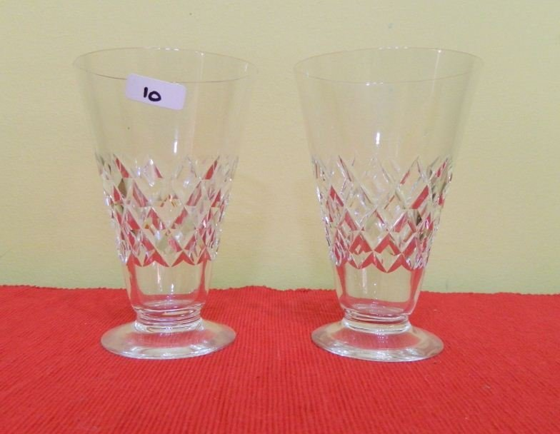 10: Two cut crystal glasses various patterns and shapes