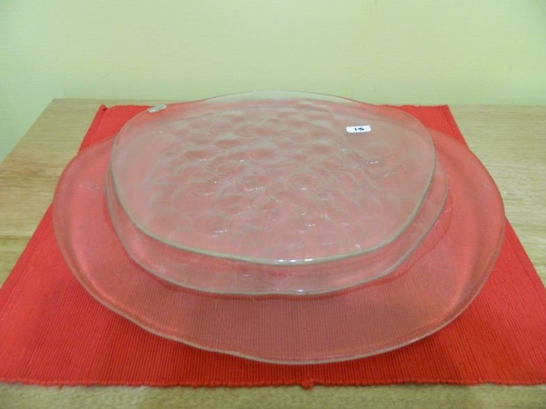 15: Three Kosta Boda Sweden glass serving platters