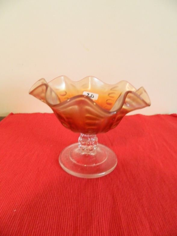 20: Amber and clear iridescent glass lollies bowl