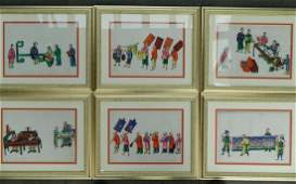 516: Chinese school. Set of six pith paper paintings.