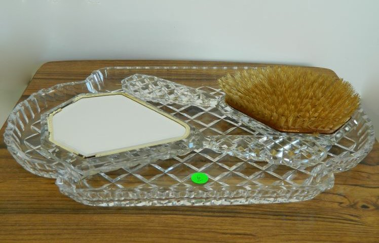Dressing set crystal glass: tray, mirror and brush