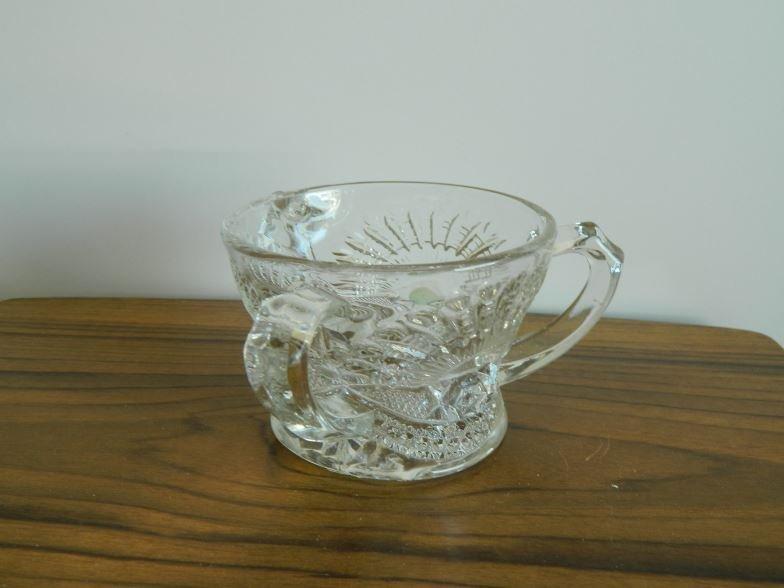 Tri-handled pressed glass vase