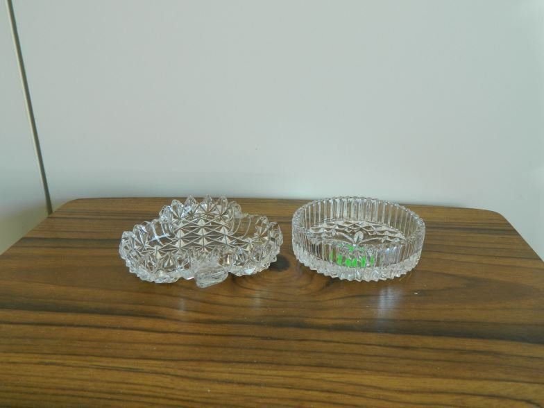 2 pressed glass pin dishes