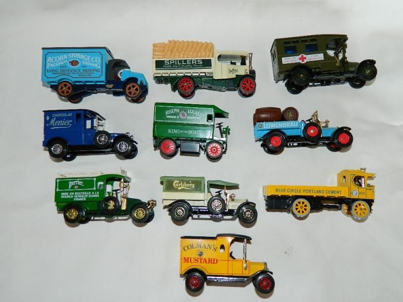 Ten Matchbox model trucks