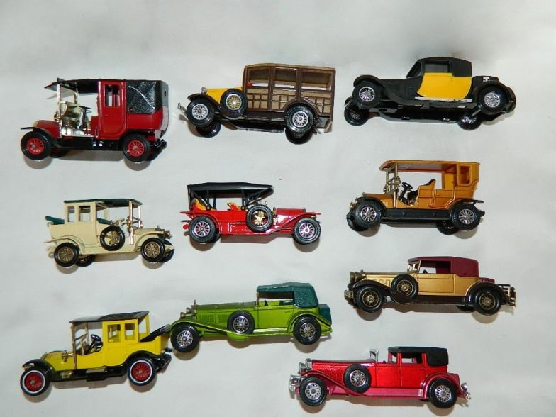 Ten Matchbox model cars