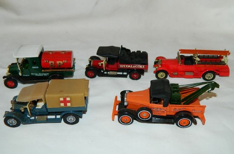 Five Models of Yesteryear Matchbox trucks