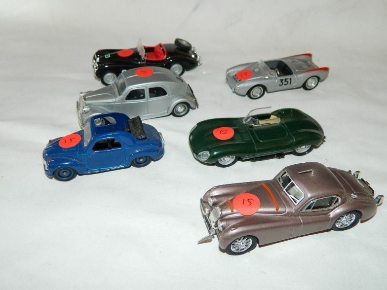 Six Brumm model cars