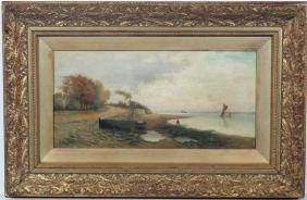 F Rosser XIX-XX, Oil on canvas, A Estuary with steamer,